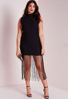 Missguided - Plus Size Jersey Fringed T-Shirt Dress Black
