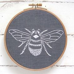DIY embroidery KIT // bumblebee design // grey linen with white thread // modern hand embroidery patterns // complete kit