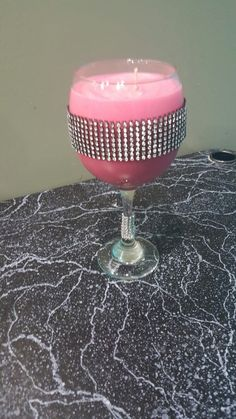 Soy candle watermelon Cooler in bling wine glass available on etsy! www.etsy.com/shop/Labellabathbombs