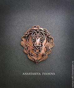 Купить Подвеска-лев - лев, животные, медь, подвеска, кулон, wire wrap, пирит