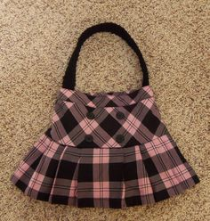 Upcycled Purse- Pink and Black Plaid.  via Kylie's Krochet