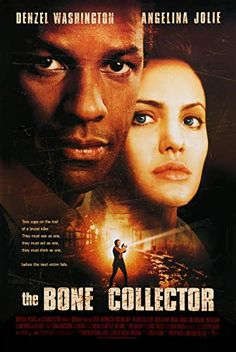 The Bone Collector – IMDb Directed by Phillip Noyce. With Denzel Washington, Angelina Jolie, Queen Latifah, Michael Rooker. A quadriplegic ex-homicide detective and his female partner try to track down a serial killer who is terrorizing New York City. All Movies, Horror Movies, Movies To Watch, Movies Online, Films Cinema, Cinema Posters, Movie Posters, Film Movie, The Bone Collector
