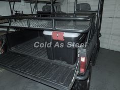 This Polaris Ranger Storage Rack attaches to existing bed rail with one OEM Polaris Lock-n-Ride per side. Provides full tail gate functionality.