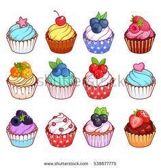 Find Set Cupcakes Different Toppings Vector Illustration stock images in HD and millions of other royalty-free stock photos, illustrations and vectors in the Shutterstock collection. Cute Food Drawings, Cute Kawaii Drawings, Doodle Drawings, Doodle Art, Cute Cupcake Drawing, Cupcake Art, Cupcake Illustration, Cute Food Art, Cute Art