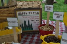 """""""Happy Trails to You"""" - DIY Trail Mix Bar - What a great idea for a theme when a Volunteer retires or leaves. #diymakeyourown #trailmixbar"""