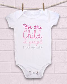 Scripture bodysuit perfect for adoption, pregnancy after miscarriage, or IVF/IUI pregnancies.  **Please note that we no longer print on Carter's brand bodysuits due to a print company switch we made awhile back! We now use another brand that is just as soft (if not softer)! ;)