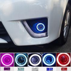 eOsuns Innovative COB angel eye led daytime running light DRL + halogen Fog Light + Projector Lens for mazda 2