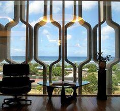 Mid Century Modern Decorative Concrete Screen - IBM Building in Honolulu, Hawaii