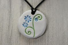 Natural Clay Diffuser Necklace, Pendant, or Car Air Freshener - Round with Floral