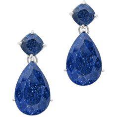 Pear and Cushion Rough Cut Sapphire Earrings