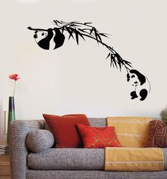 Vinyl Wall Decal Branch Bamboo Tree Panda Asian Animal Sticker Unique Gift Source by Tree Wall Painting, Creative Wall Painting, Creative Walls, Wall Painting Design, Tree Wall Art, Paint Designs, Wall Art Designs, Wall Design, Asian Home Decor