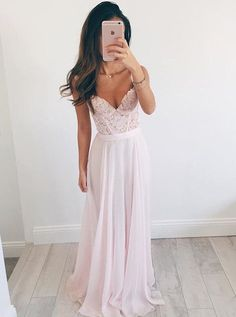 Stylish V-neck Floor-Length Pearl Pink Prom Dress with Appliques Beading