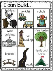 Idea & Task Cards for Block Centers (free; from KinderGals)