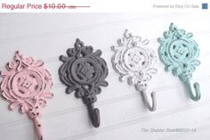 Nursery Hook / Necklace Hook / French Country / Shabby Chic Hook / Pink / Gray /Light Blue / White