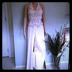 Pant suit Beaded backless top with shear flowing bottoms. Pure silk baby pink. Pictures don't do justice stone Ferris Sterling Other