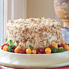 31 Luscious Layer Cakes - Southern Living _ of Coconut-Almond Cream Layer Cake. This decadent layer cake is deliciously rich as well as moist. For a colorful presentation, garnish with kumquats, currants, & fresh mint sprigs. Cupcakes, Cupcake Cakes, Party Desserts, Just Desserts, Mini Desserts, Fall Desserts, Sweet Desserts, Almond Cream Cake Recipe, Coconut Cream