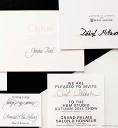 Nicolas Ouchenir, Fashion Week invitations, calligraphy, stationery / Garance Doré
