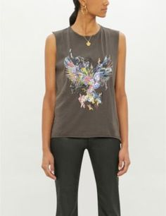 ZADIG&VOLTAIRE Molly embellished cotton-jersey top Rock Tees, Zadig And Voltaire, Tank Tops, Cotton, Women, Style, Fashion, Swag, Moda