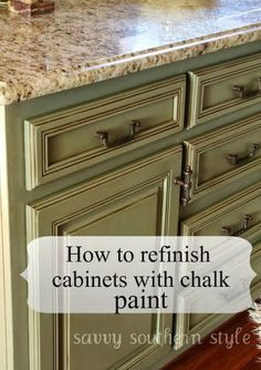 Savvy Southern Style: Kitchen Cabinets Tutorial    These Are The Products I  Used. Chateau Grey Annie Sloan Chalk Paint, Annie Sloan Lacquer, ...