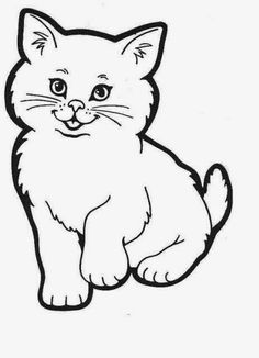 Planse de colorat si fise pentru copii: PISICA - PLANSE de colorat cu Animale Domestice