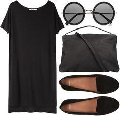 "fashionfever:""black mood by onanarihanna featuring black suede flats "" Love the bag!"