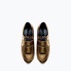 ZARA - SALE - GOLD SNEAKERS WITH VELCRO