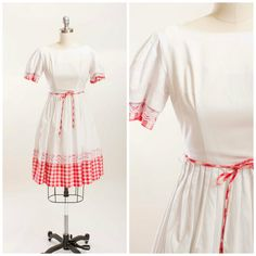 50s Vintage Dress Red White Gingham Rockabilly by stutterinmama