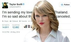 Taylor Swift - Thailand red tour cancellation