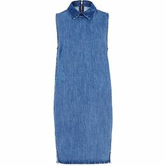 Mid wash denim sleeveless shift dress £40.00
