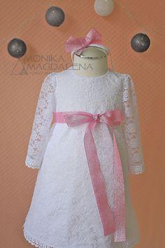 Baby girls white Christening dress Baptism by MonikaMagdalenaHM