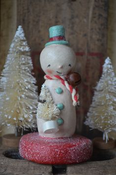 Snowman Red/Blue Folk Art Paperclay by apinchofprim on Etsy, $35.00