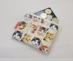 Cat Faces Fabric Coin Purse - Free P £5.00
