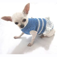 French Maid Dog Dress Baby Blue Hand Knit Cotton Pet por myknitt, $33.00