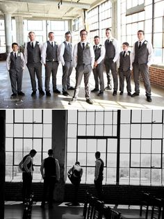 Groom with groomsmen. Sarah + James' wedding at the Loft at Union Square in High Point, NC.