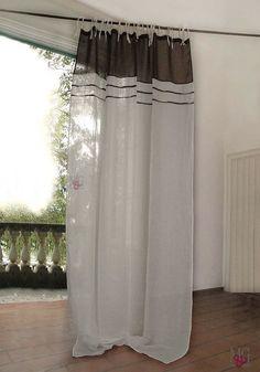 tende di puro lino per interni CASTRO è nata una Stella! Tende di puro Lino 100%   Mantovana Inserti a colore Asole a Fettuccia ✓ Offerte On Line di qualità