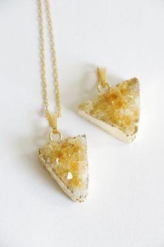 Citrine Raw Crystal necklace geometric cystal by VermeerJewellery