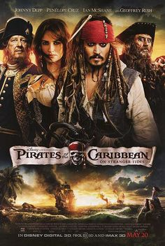 Pirates of the Caribbean: On Stranger Tides movie poster. With Johnny Depp, Penelope Cruz, Geoffrey Rush, and Ian McShane. Music by Hans Zimmer.