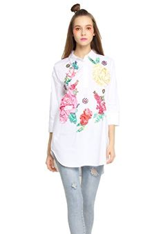 EileenElisa Fashion White Silk TShirt for Women with Beading -- ** AMAZON BEST BUY **