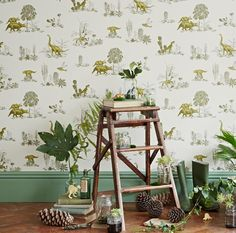 Dino Wallpaper-Yellow Green - This Dino wallpaper with tropical plants and mischievous Dinos will inspire all nature loving kids and kid adults alike. The wallpaper was printed in England on paper from sustainable forests. Green Wallpaper, More Wallpaper, Wallpaper Samples, Wallpaper Roll, Luxury Wallpaper, Dinosaur Wallpaper, Water Based Stain, All Nature, Home Decor Online