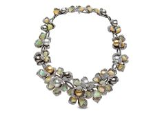 Feronia necklace in 18k white and black gold with 56.63ct diamonds, 84.92ct opals, 9-13mm South Sea & Tahitian pearls by YOKO LONDON