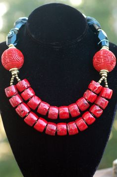 The Orient Express: Bold Asian-Inspired Red Coral, Cinnabar, Black Agate and Gold Necklace