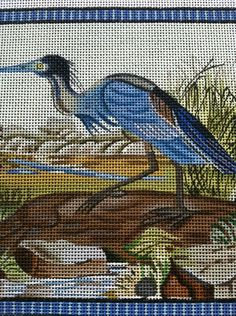 Gorgeous blue heron by Melissa Shirley. Would make stunning pillow with silk and ivory! Needlepoint Pillows, Needlepoint Designs, Needlepoint Canvases, Pillow Ideas, Blue Heron, Needlework, Berlin, Ivory, Tapestry