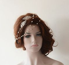 Bridal Hair Accessories, Rhinestone and Pearl Headband, Wedding hair vine, Bridal Headband,  Hair Jewelry