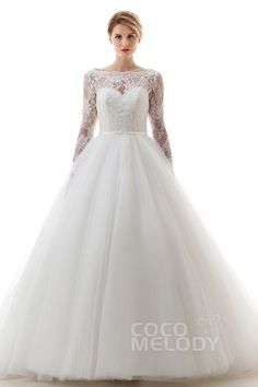 Charming Princess Bateau Natural Chapel Train Lace and Tulle Ivory Long Sleeve Open Back Wedding Dress with Appliques and Sashes #LD4481 #cocomelody #weddingdress