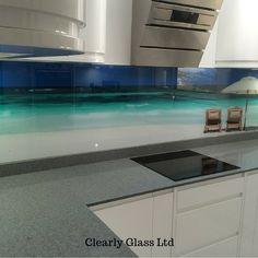 Printed beach scene glass splashback – Barnstaple, Devon - would use for bathroom instead of kitchen Kitchen Colors, Kitchen Design, Kitchen Ideas, Beach House Kitchens, Glass Kitchen, Building A House, Architecture Design, New Homes, House Design