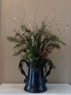 Winter Centerpiece for my Kitchen Island                                                         by Rachel Post, creator of Holiday Favorites Community Board