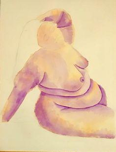 """Work in progress, """"Reclining beauty"""", 770mm x570mm, watercolour, 13/10/17."""