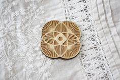 Laser cut jewelry geometric flower brooch accessories - laser engraved Obeche 3mm ornate via Etsy