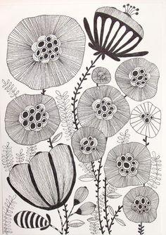 Pattern Drawing, Pattern Art, Doodle Drawings, Doodle Art, Tatoo Tree, Sharpie Doodles, Botanical Line Drawing, Tangle Art, Zentangle Patterns
