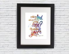 Bible Quotes Inspirational Poster Psalm 39:7 Motivational Typography Print Home Decor